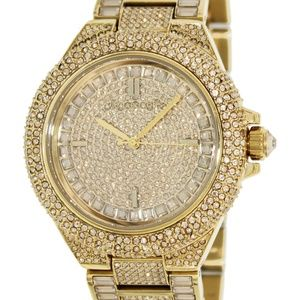 Michael kors Camille Gold Tone Pave Glitz Watch